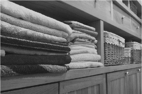 Fresh laundry neatly folded.